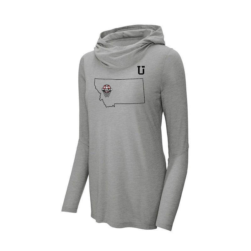 UPTOP / PFAHLER HOOPS WOMEN'S LONG SLEEVE HOODED TRIBLEND TEE