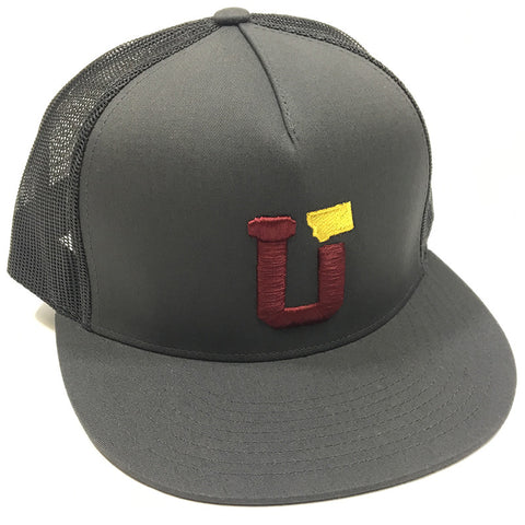 UPTOP UT MT TRUCKER HAT - CHARCOAL/BURGANDY/GOLD