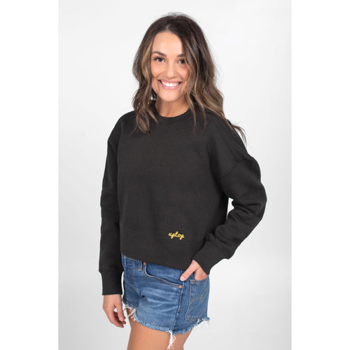 UPTOP WOMEN'S CHAIN SCRIPT CROPPED SWEATSHIRT