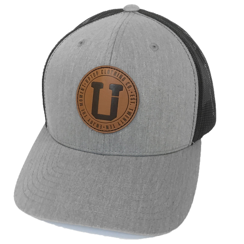 UPTOP BRANDED LEATHER RETRO TRUCKER HAT