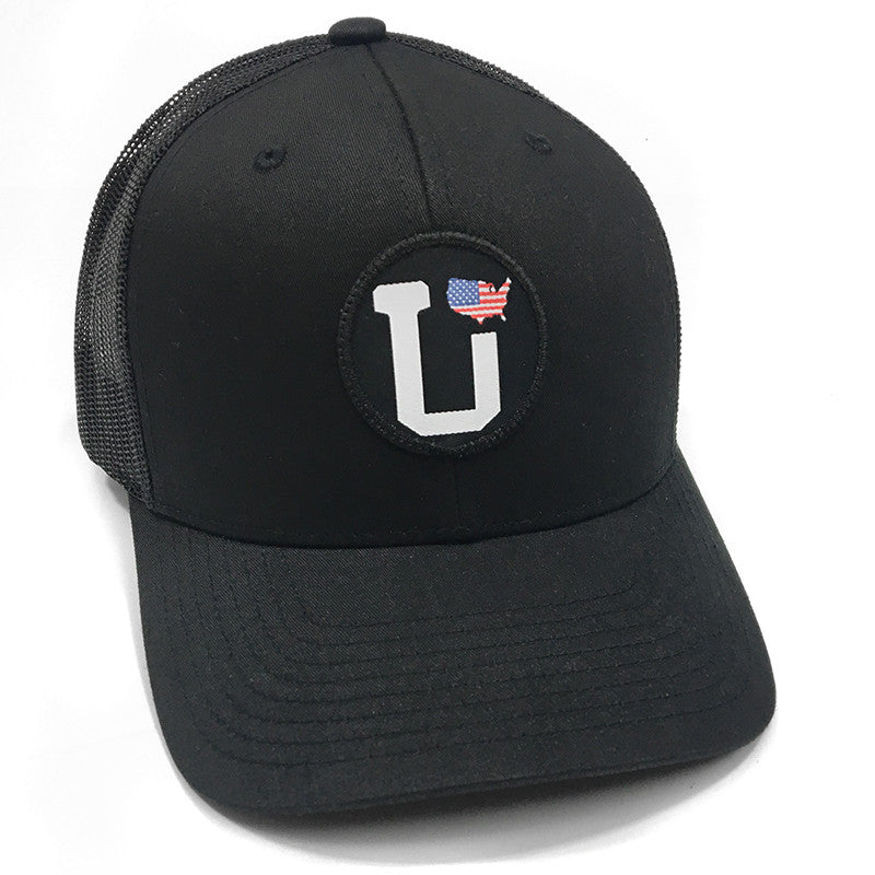UPTOP UT-UNITED STATES FLAG RETRO TRUCKER HAT (PRE-CURVED)