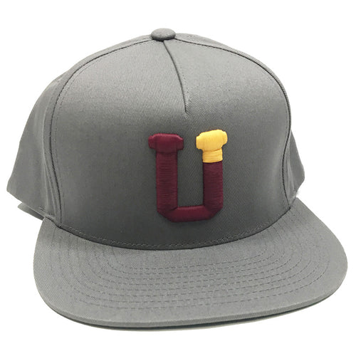 UPTOP UT3 5 PANEL SNAPBACK HAT - GREY/MAROON