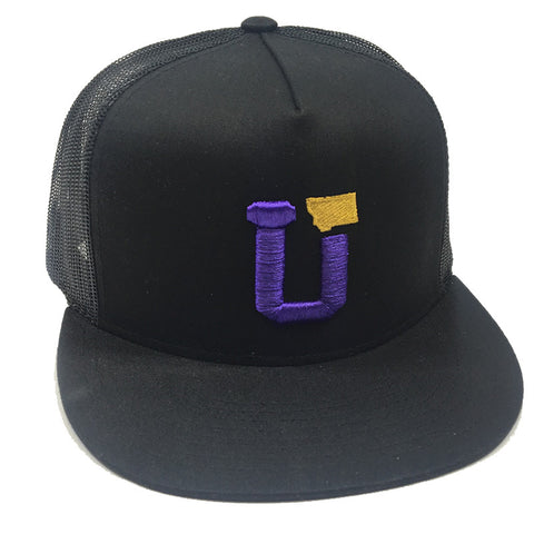 UPTOP UT-MT TRUCKER HAT - BLACK/PURPLE/GOLD
