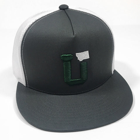 UPTOP UT-MT TRUCKER HAT - CHARCOAL/GREEN/WHITE