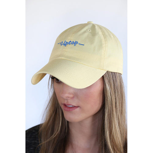 UPTOP SCRIPT DAD HAT - LIGHT YELLOW