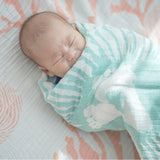 Nature's Print Snorkeling Seashell - Cotton Muslin Swaddle  Blanket