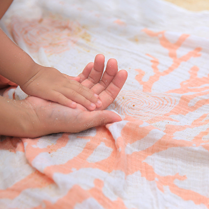 Nature's Print Snorkeling Coral - Cotton Muslin Swaddle Blanket