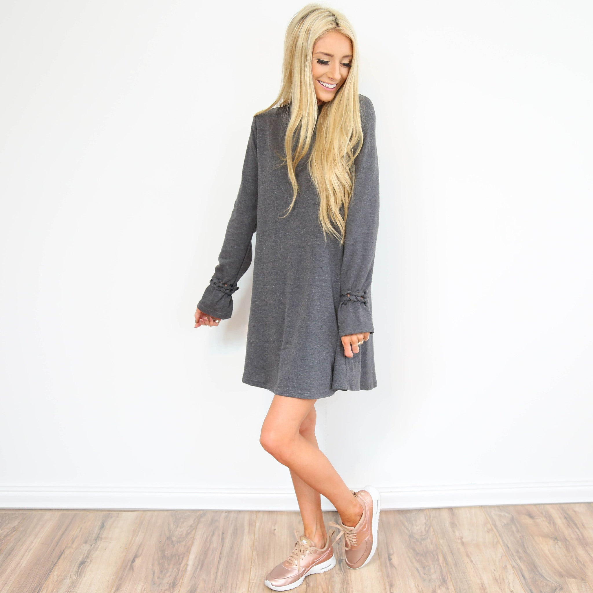 Grey Sleeve Detailed Dress