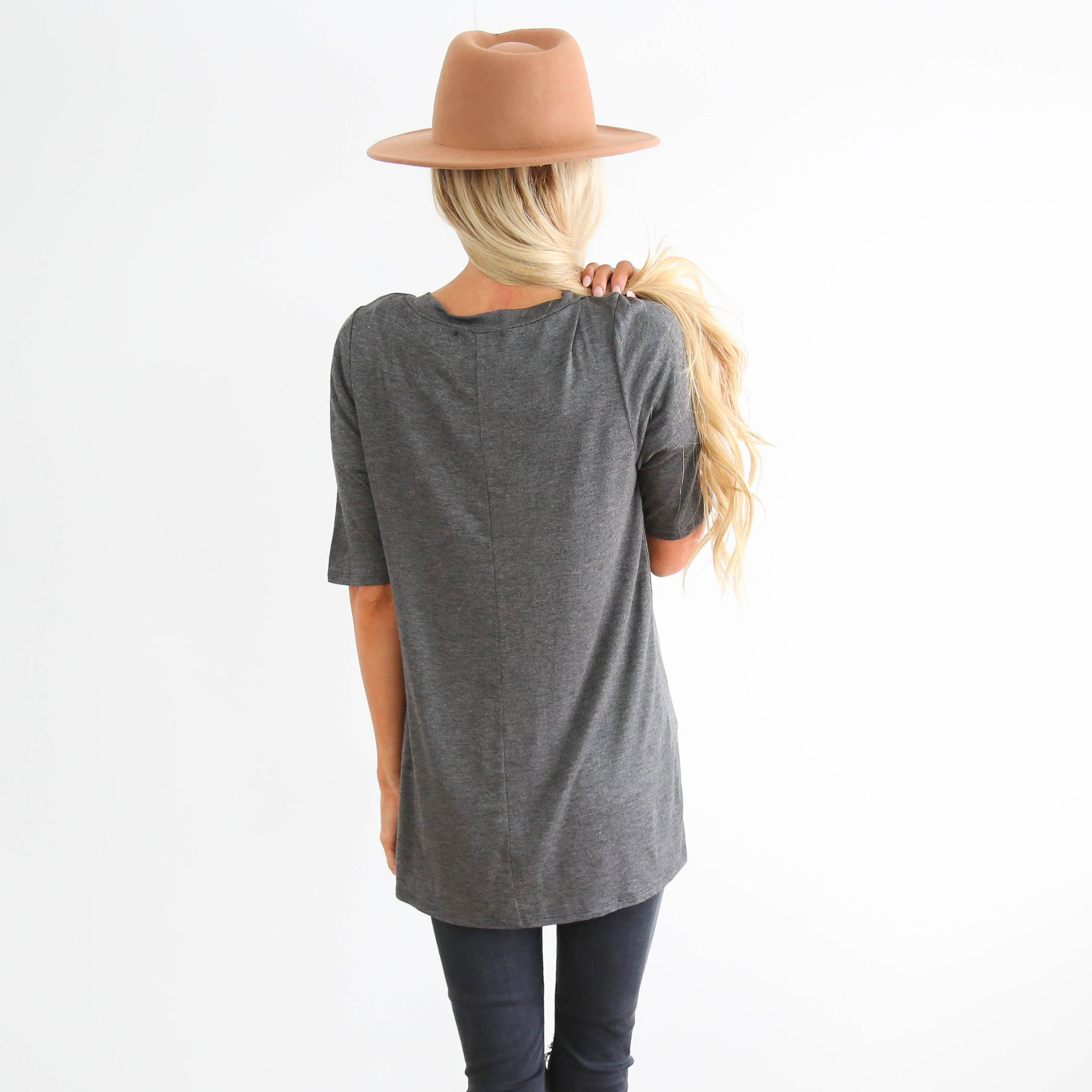 Charcoal Cross Neck Top