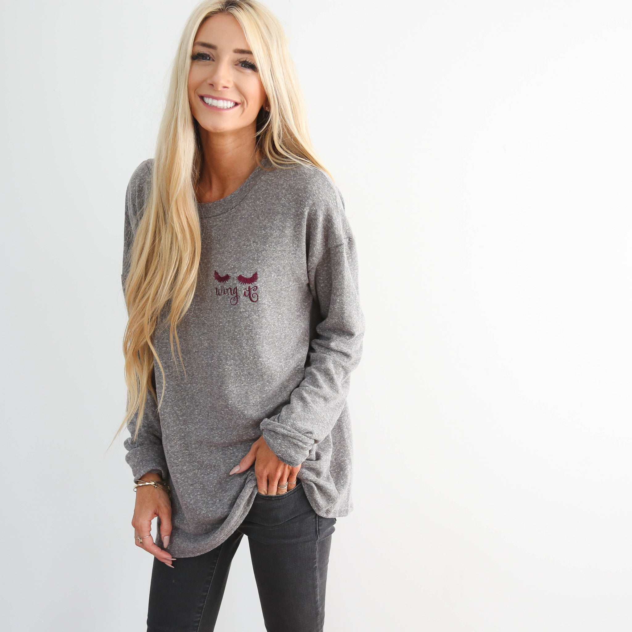 Wing It Sweater in Charcoal