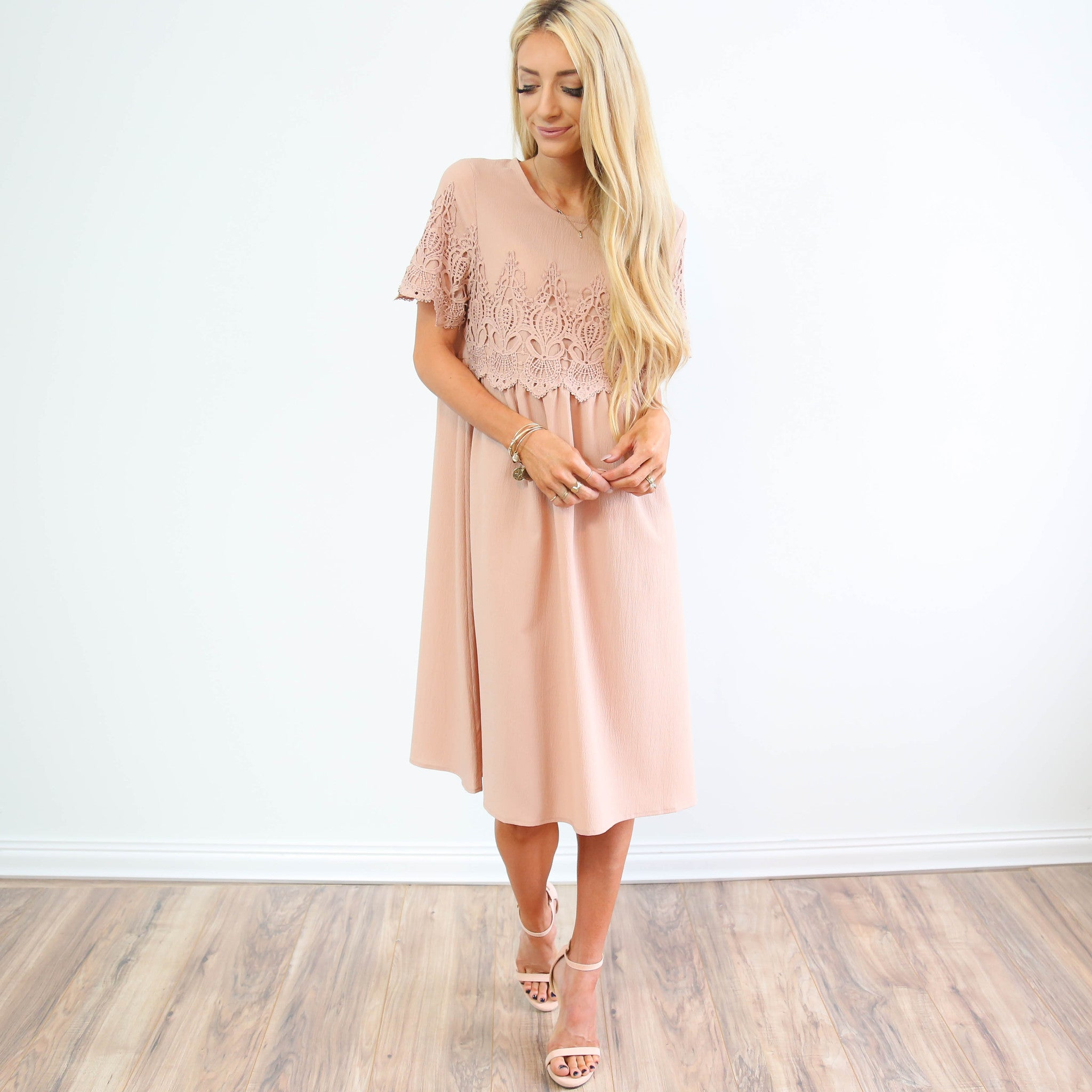 Mauve Rose Lace Dress