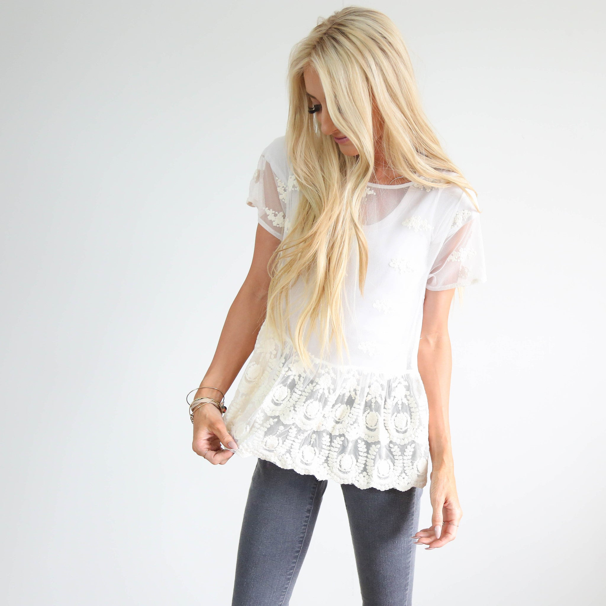 S & Co. Ivory Lace Top