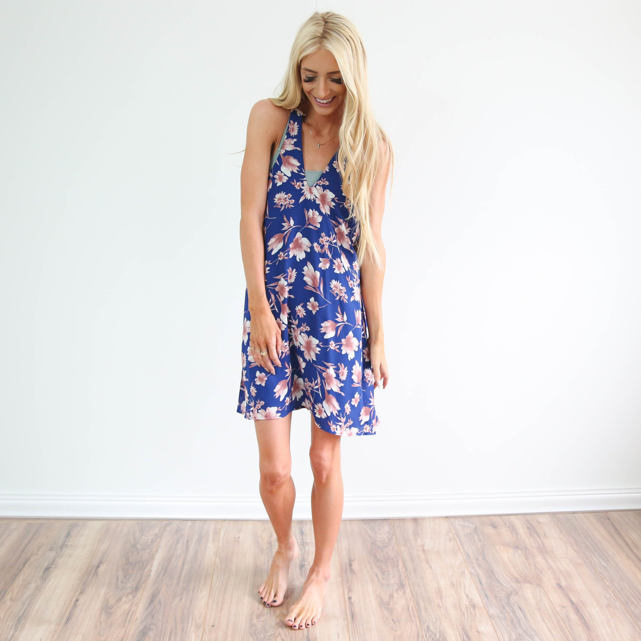 Royal Blue Floral Swim Cover