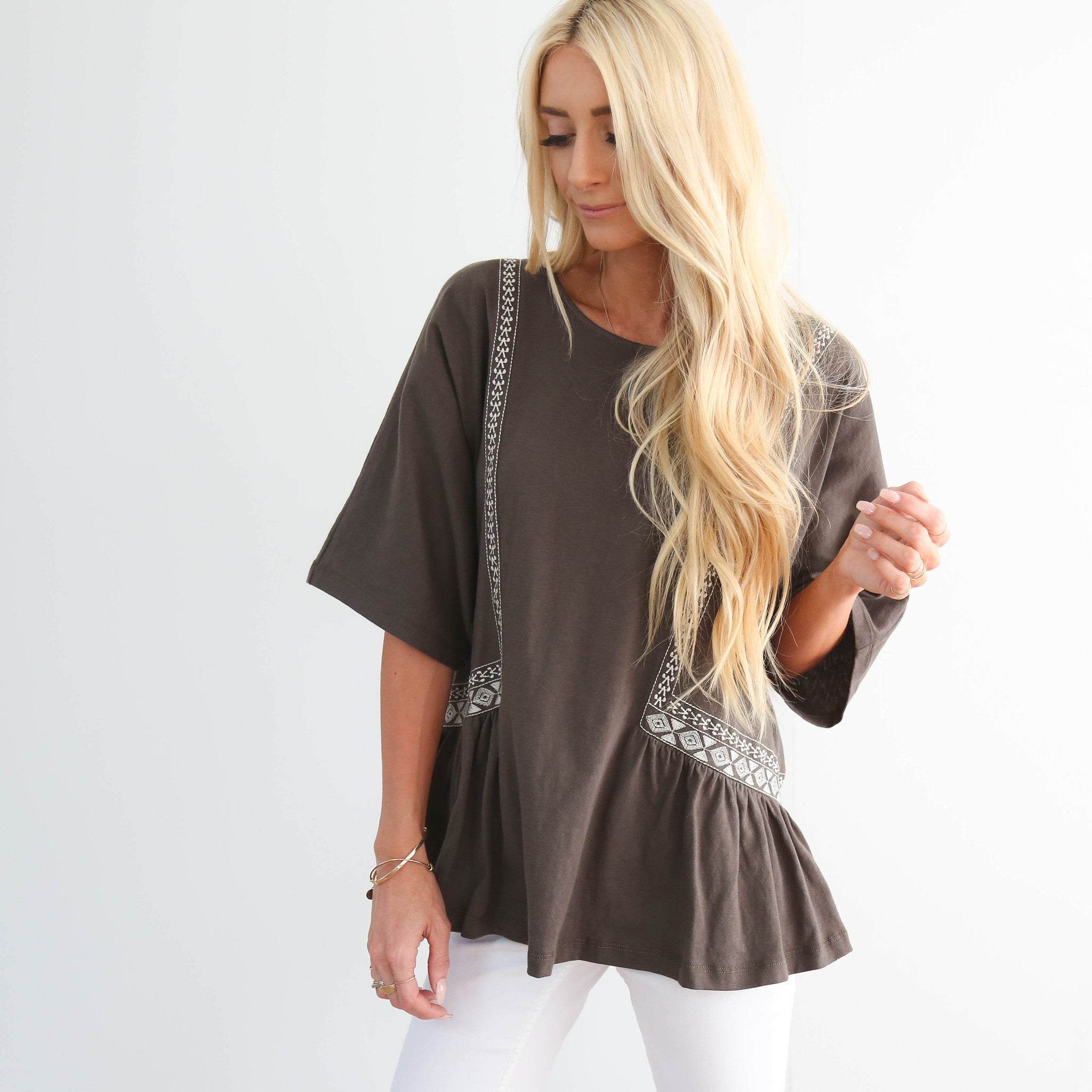 Olive Grey Embroidered Top