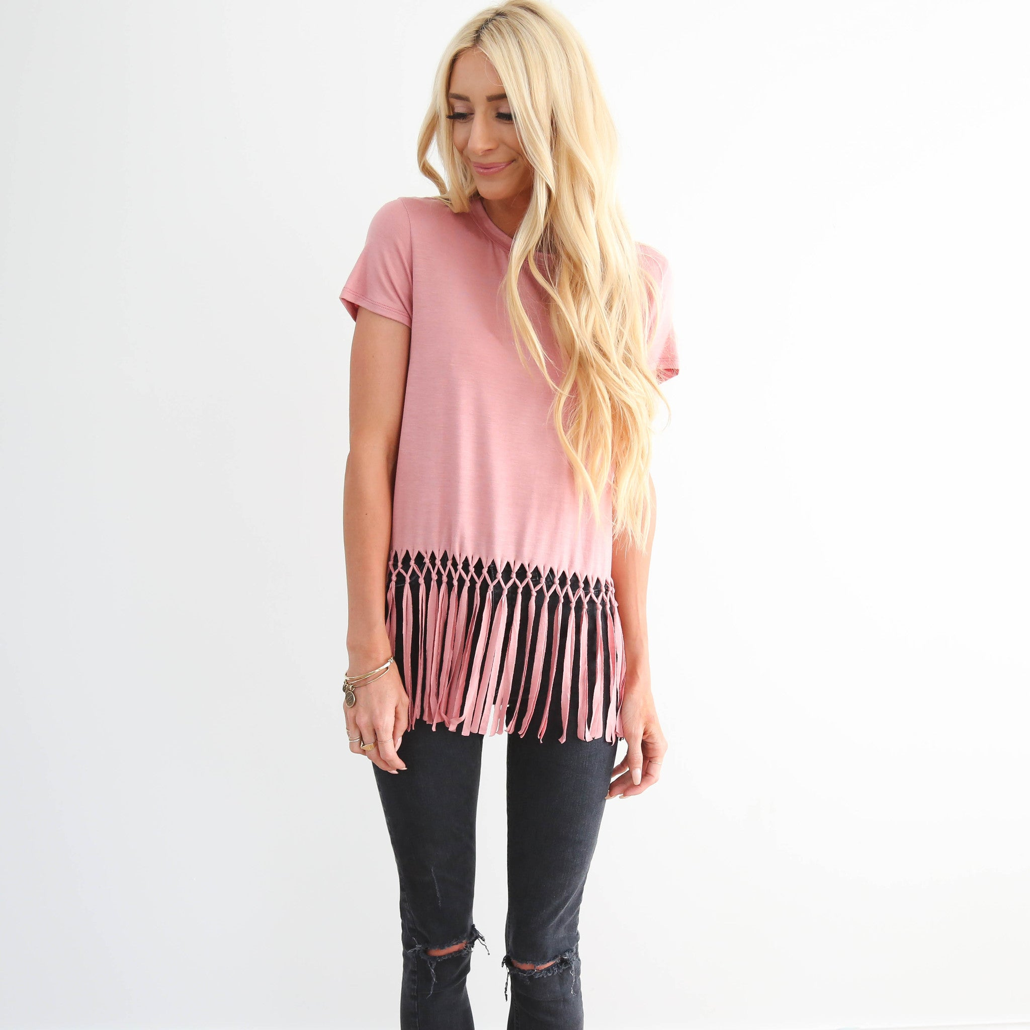 S & Co. Mauve Fringed Top