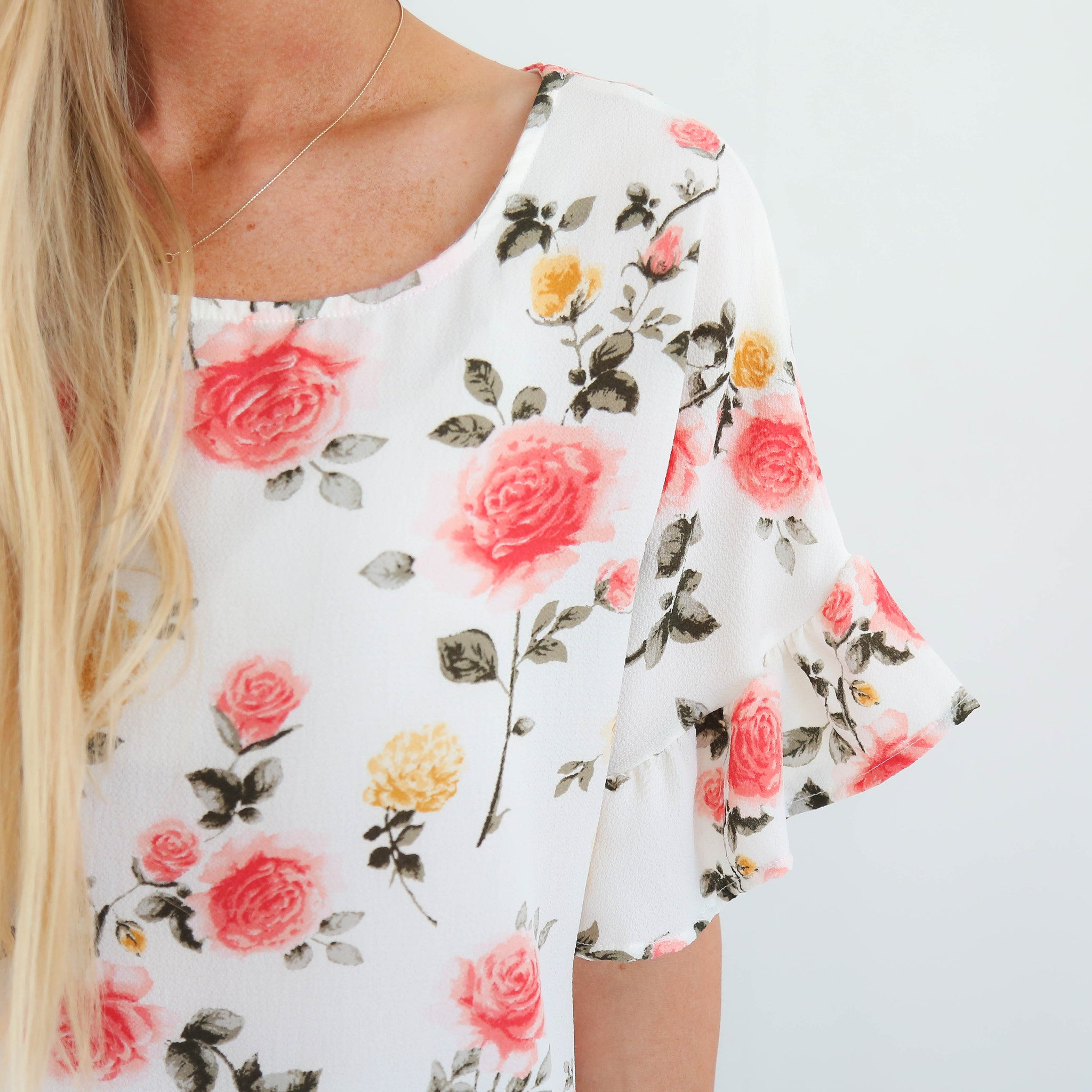Morning Blooms Top in Ivory