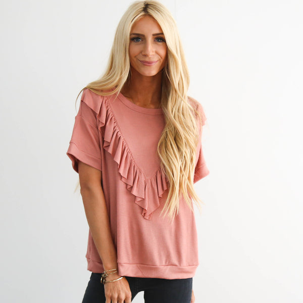 S & Co. Renee Ruffle Top in Mauve