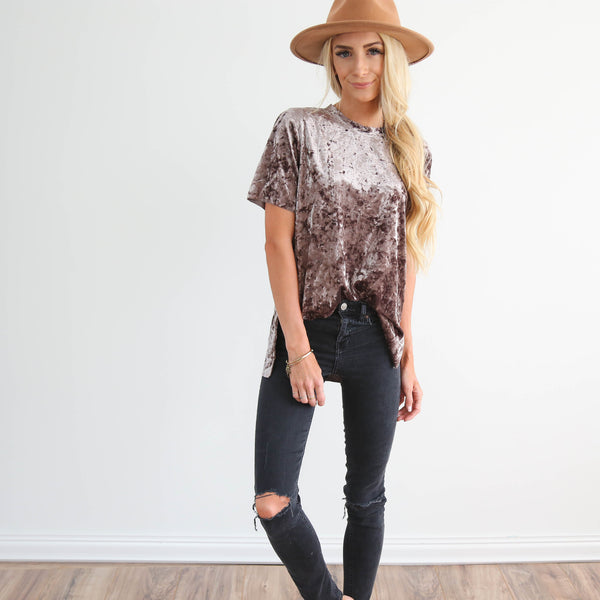 Velvet Tee in Grey Brown
