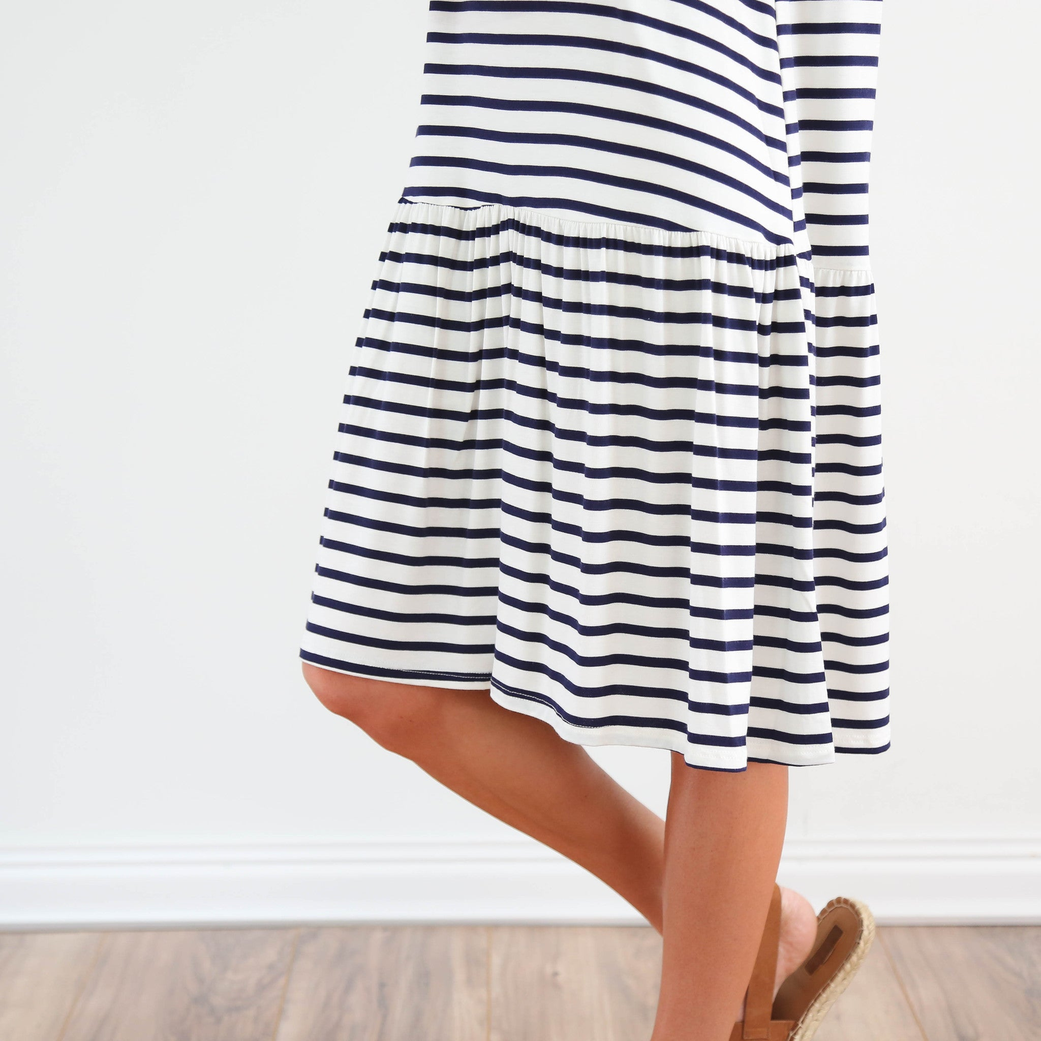 S & Co. Navy Stripe Ruffle Dress