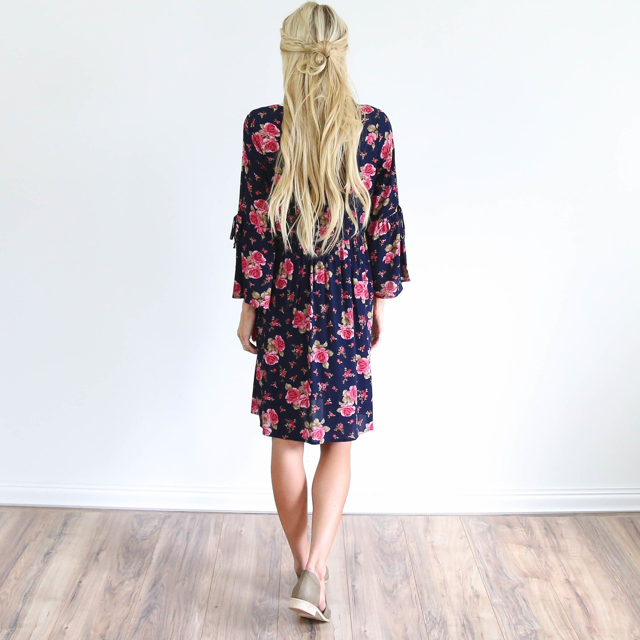 Jaime Floral Dress in Navy