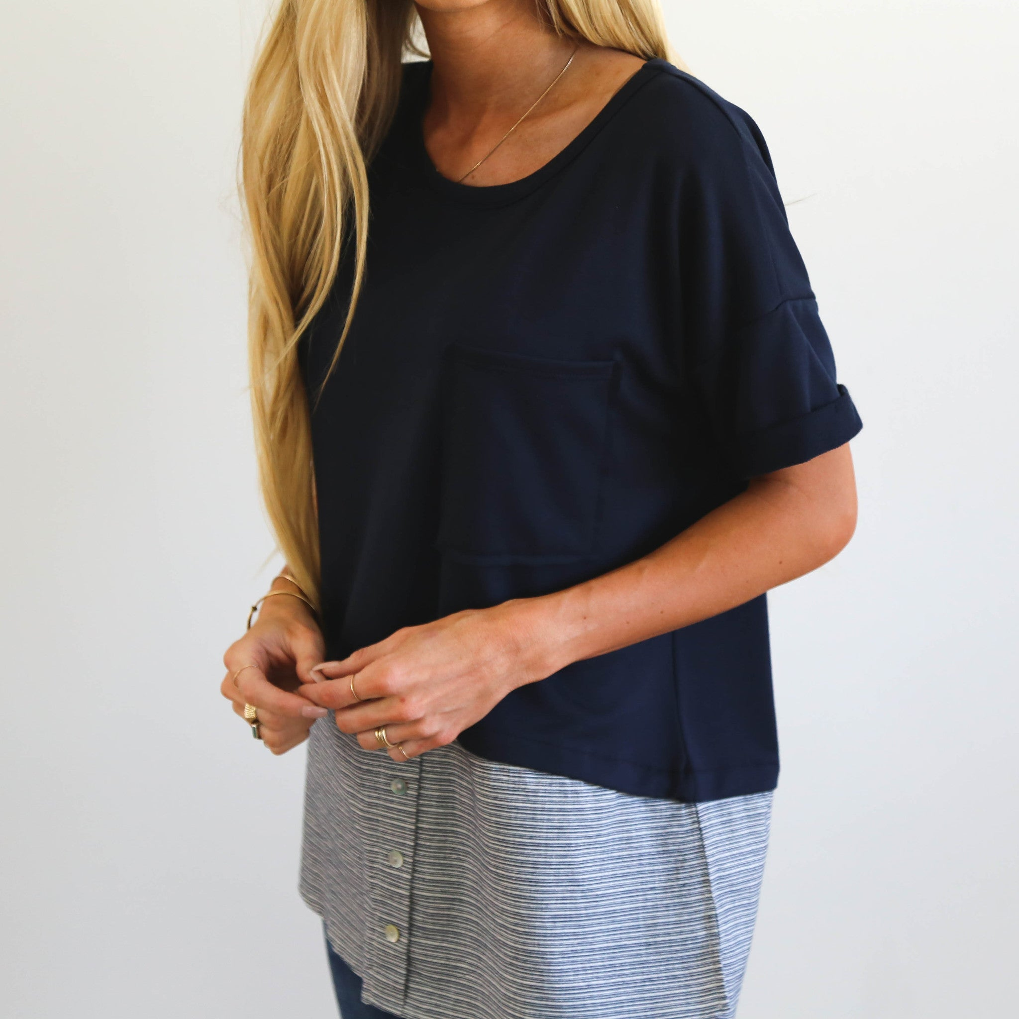 Callie Two-Tone Top in Navy