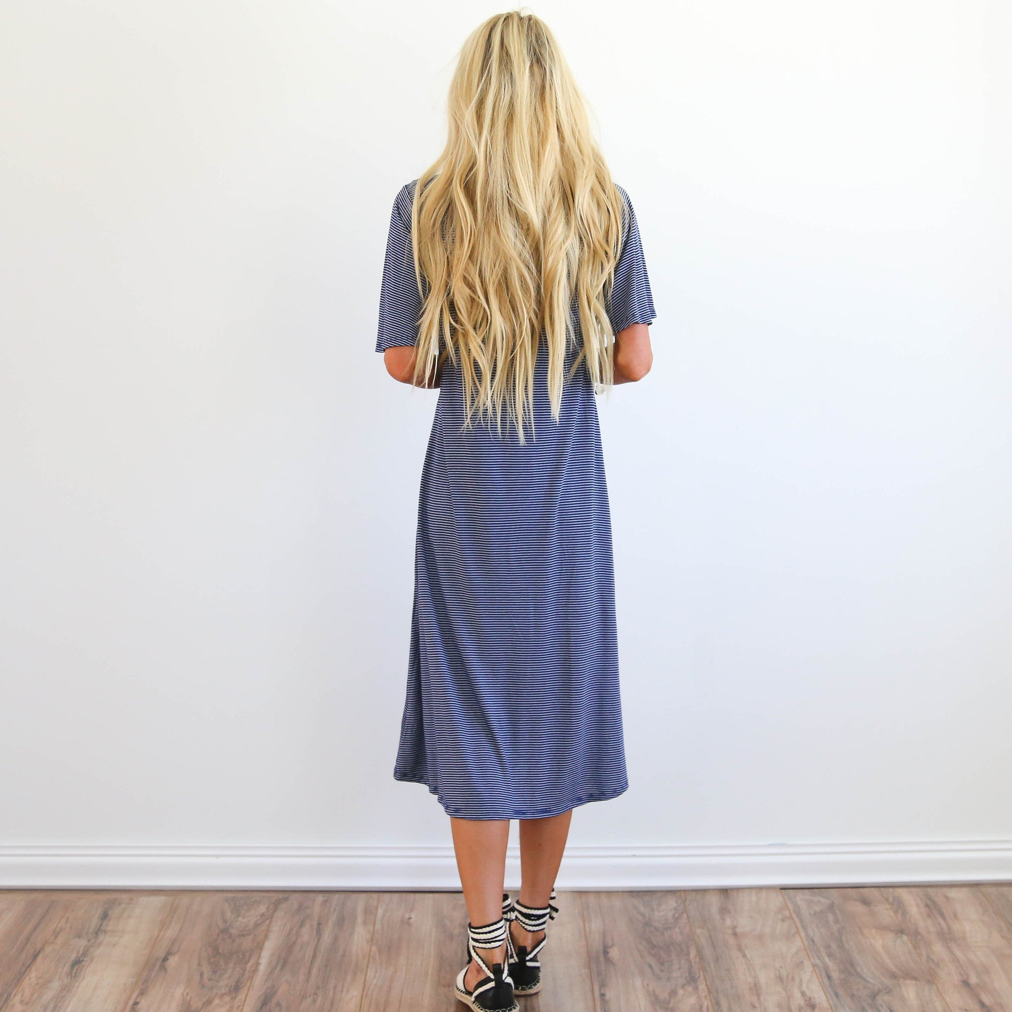 Mindy Stripe Dress in Denim Blue