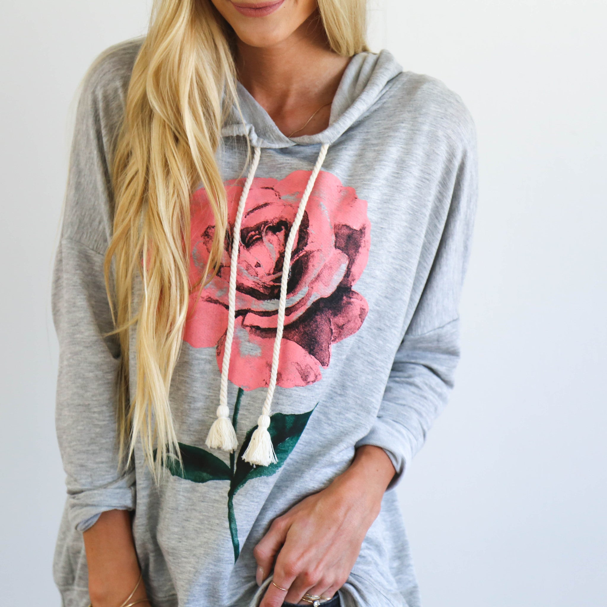 Single Rose Hoodie in Grey