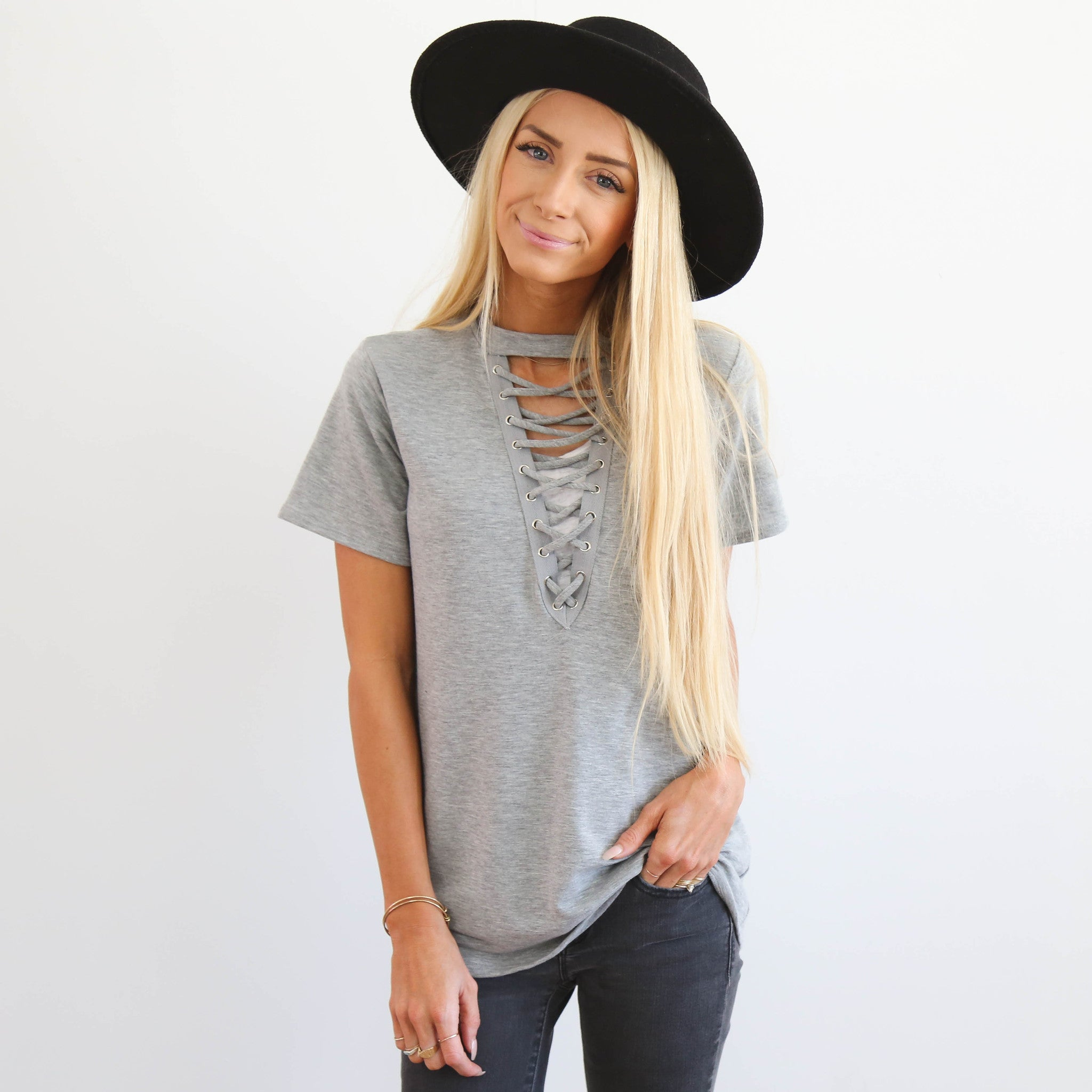 S & Co. Lace Up Top
