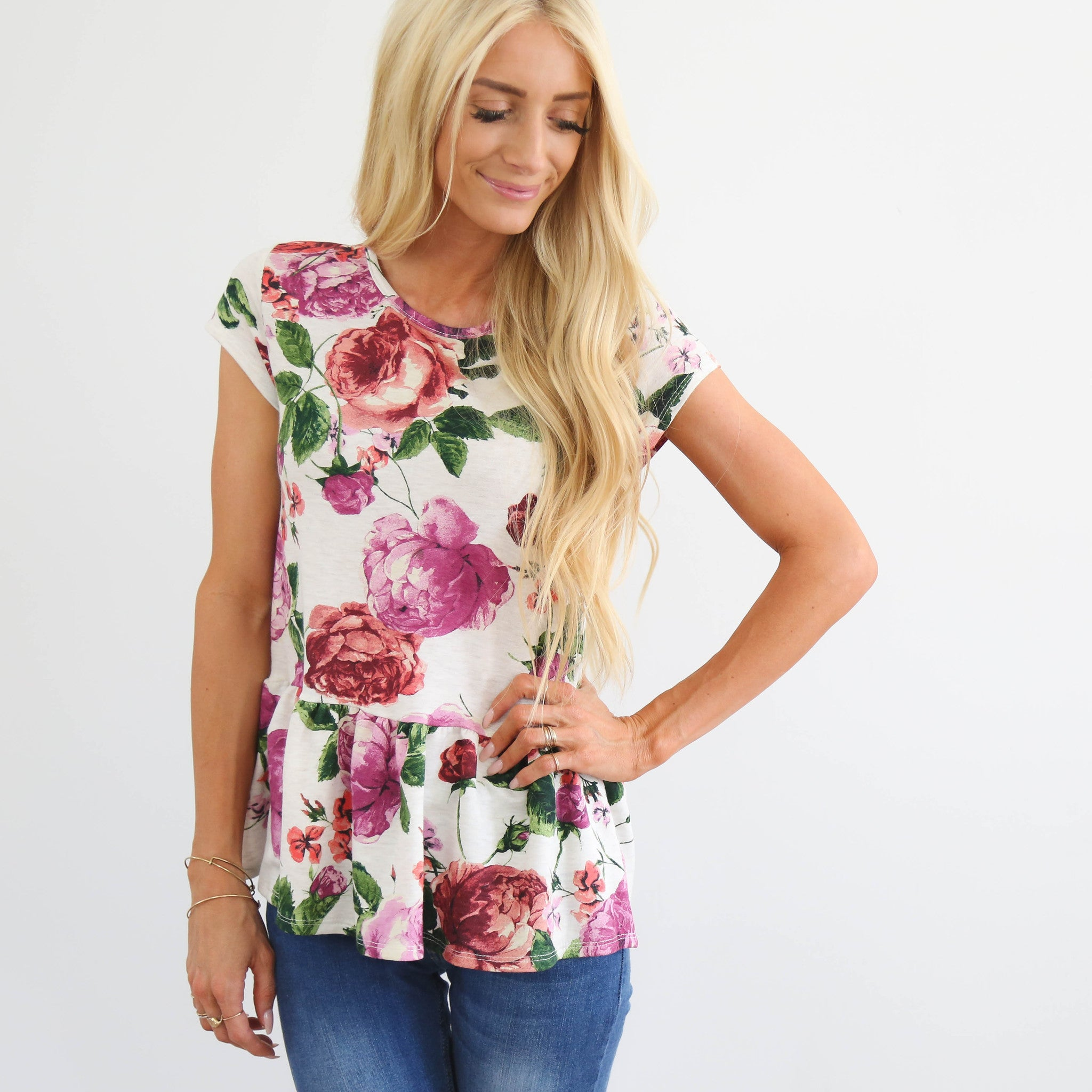 S & Co. Woven Flower Top