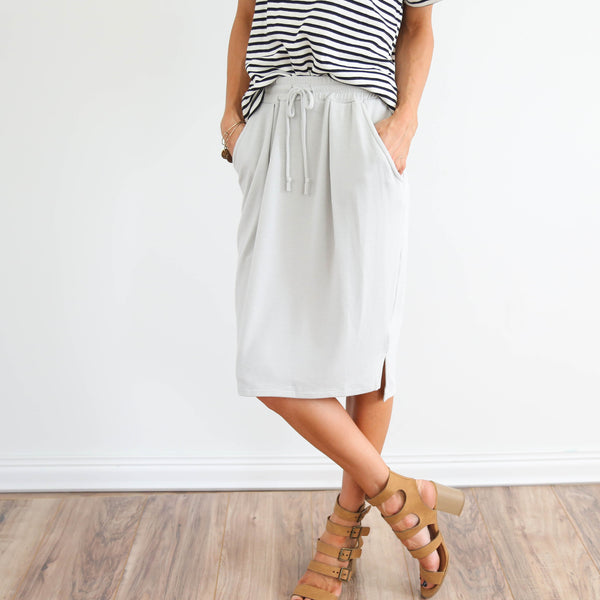 French Terry Skirt in Sage