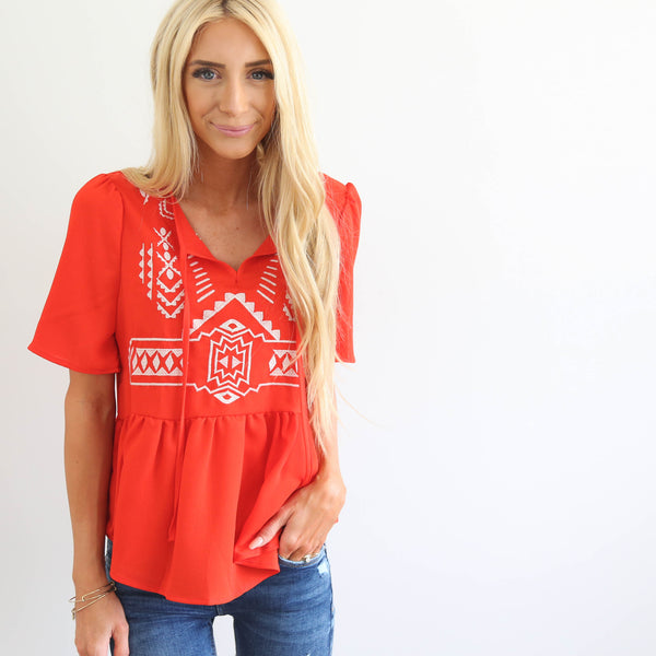 Kami Embroidered Top in Red