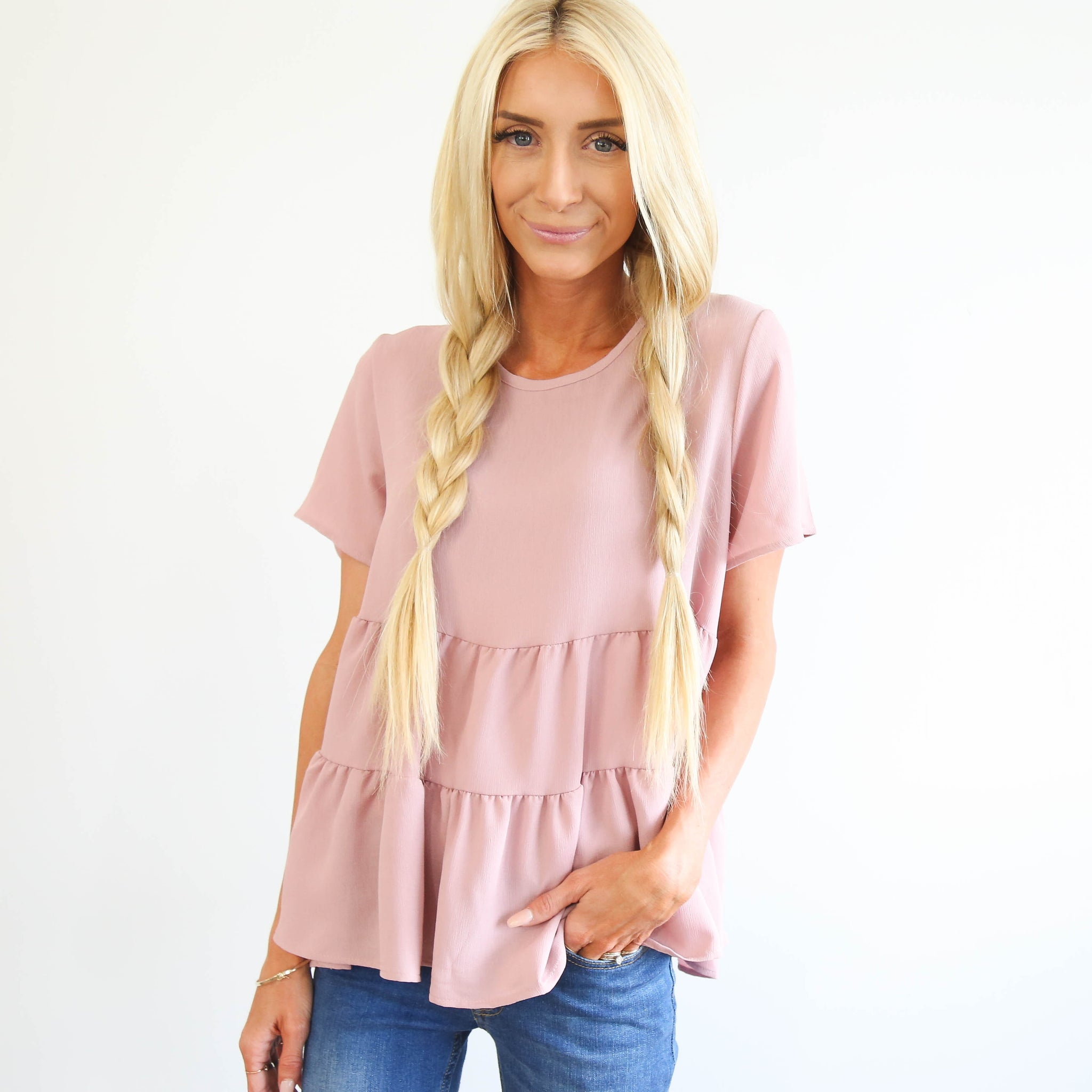 Cass Blush Ruffle Top
