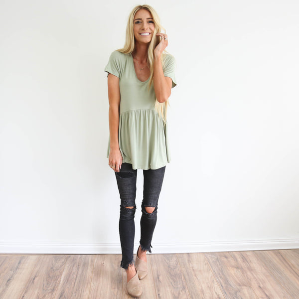 Baby Doll Top in Sage