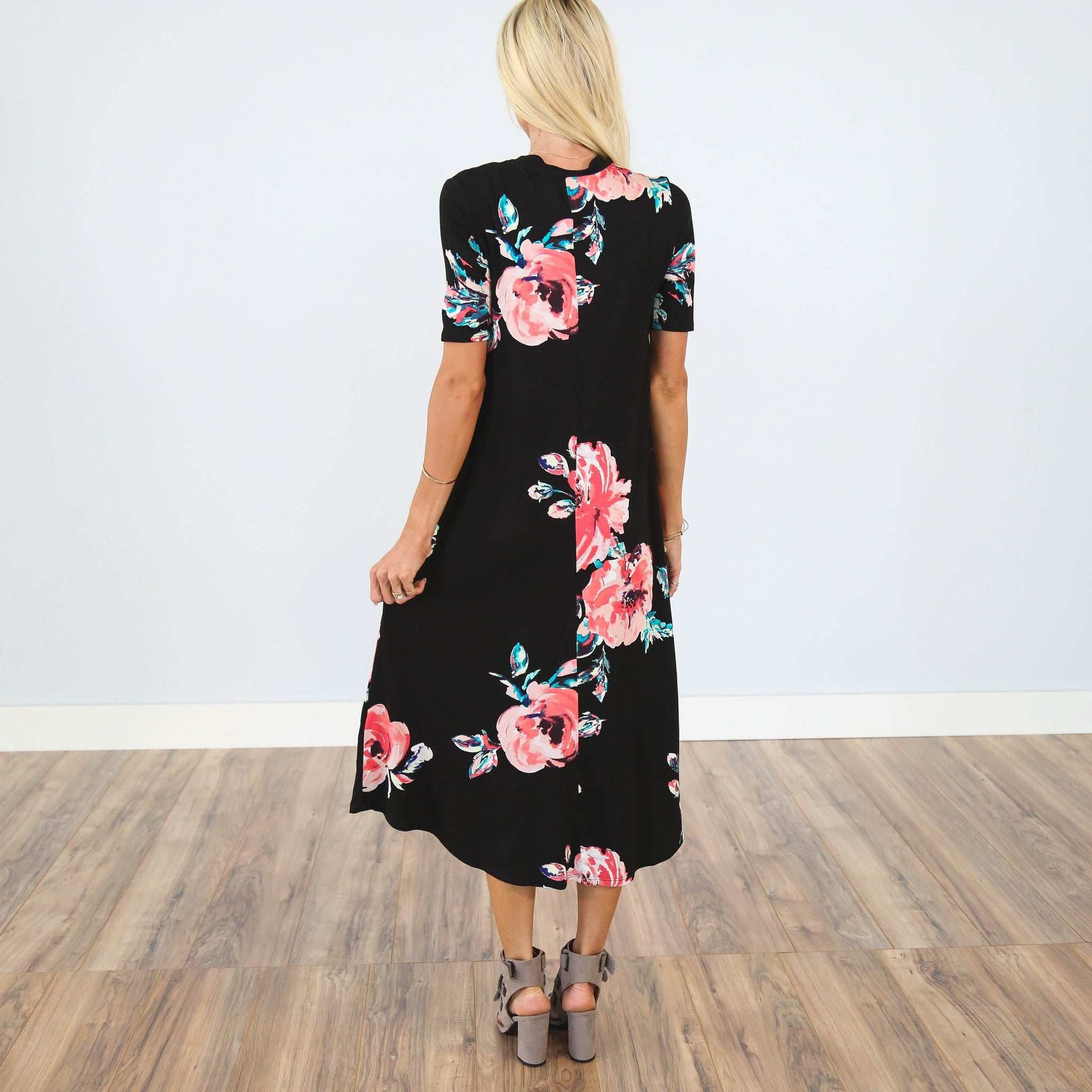 Connie Floral Dress in Black
