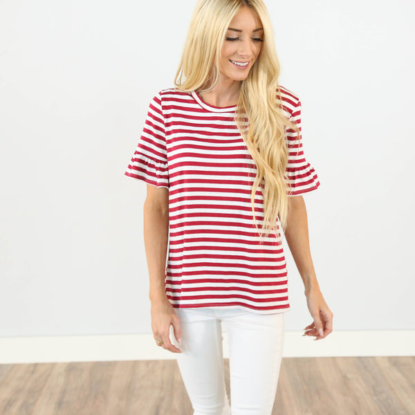 Mady Stripe Top in Red