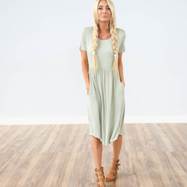 Kirsi Pocket Dress in Sage