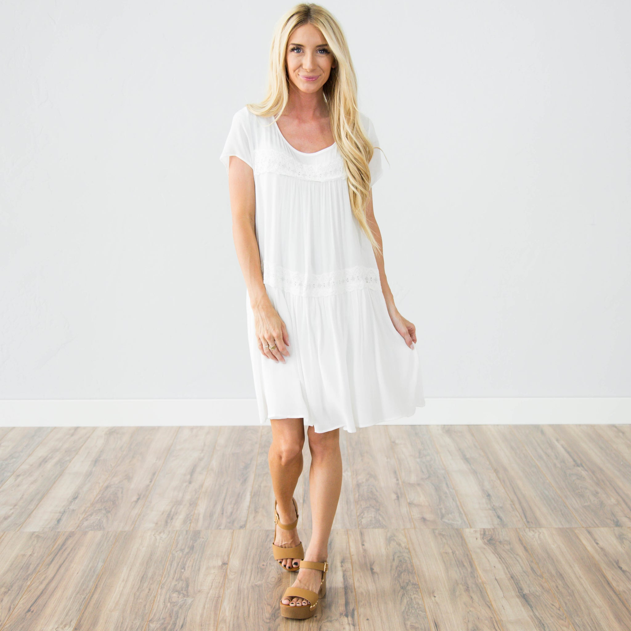 Trailing Flower Dress in Ivory