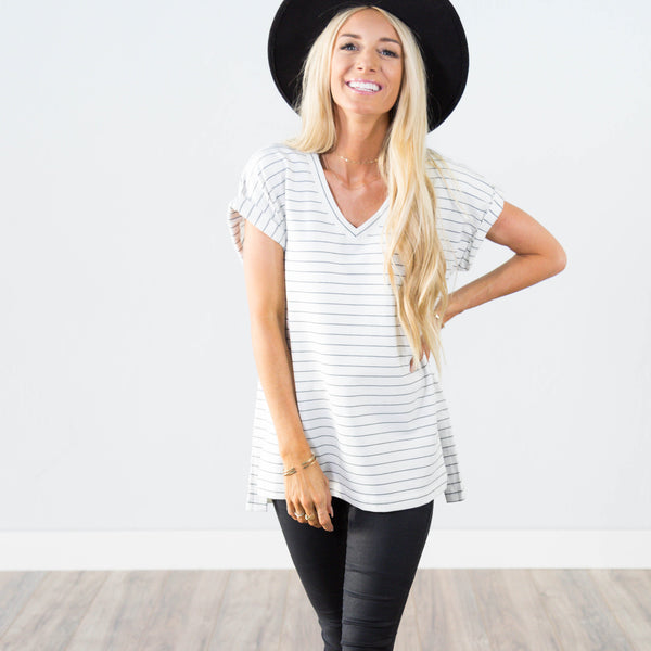 Mandy Stripe Top in Ivory