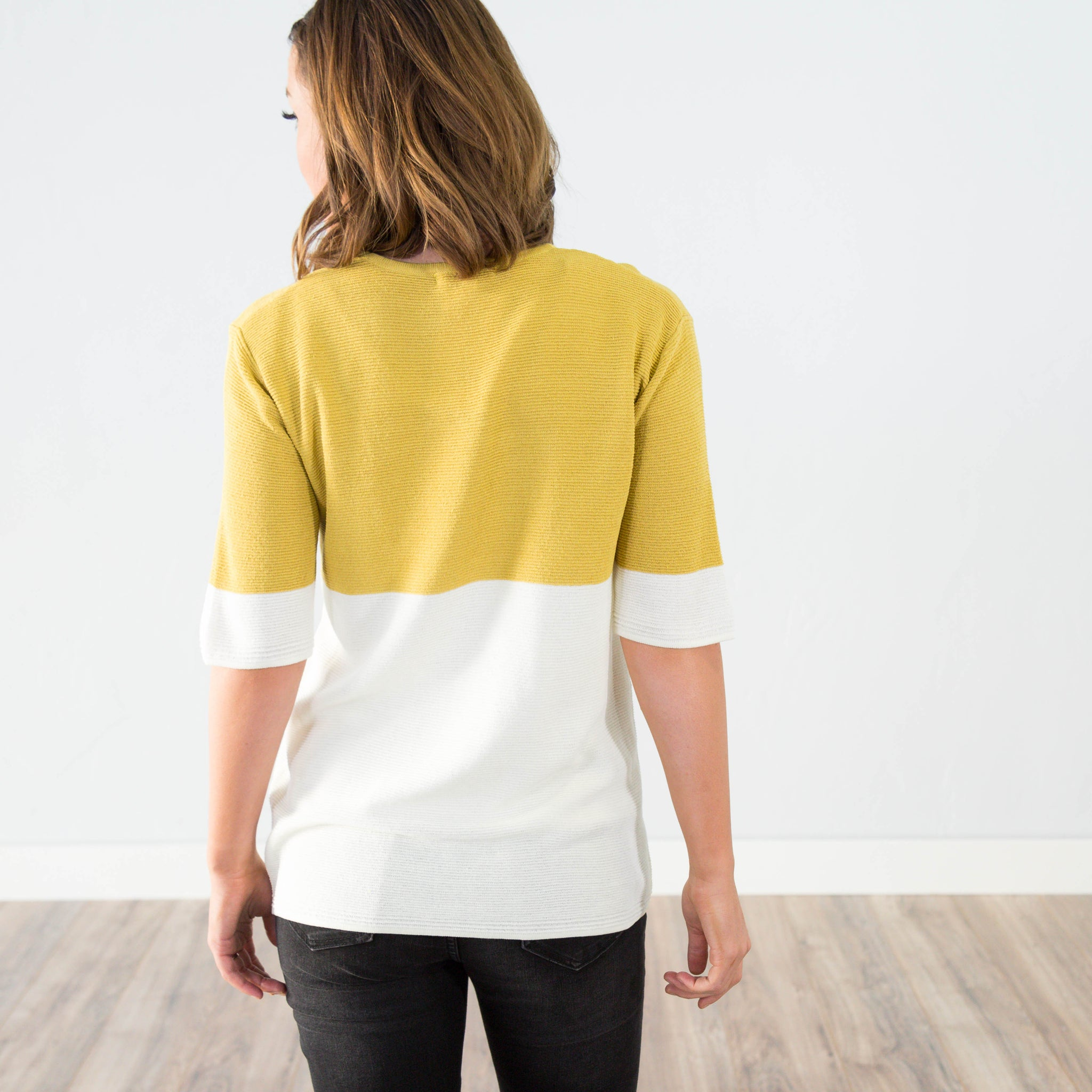 Charlie Two Tone Top in Mustard