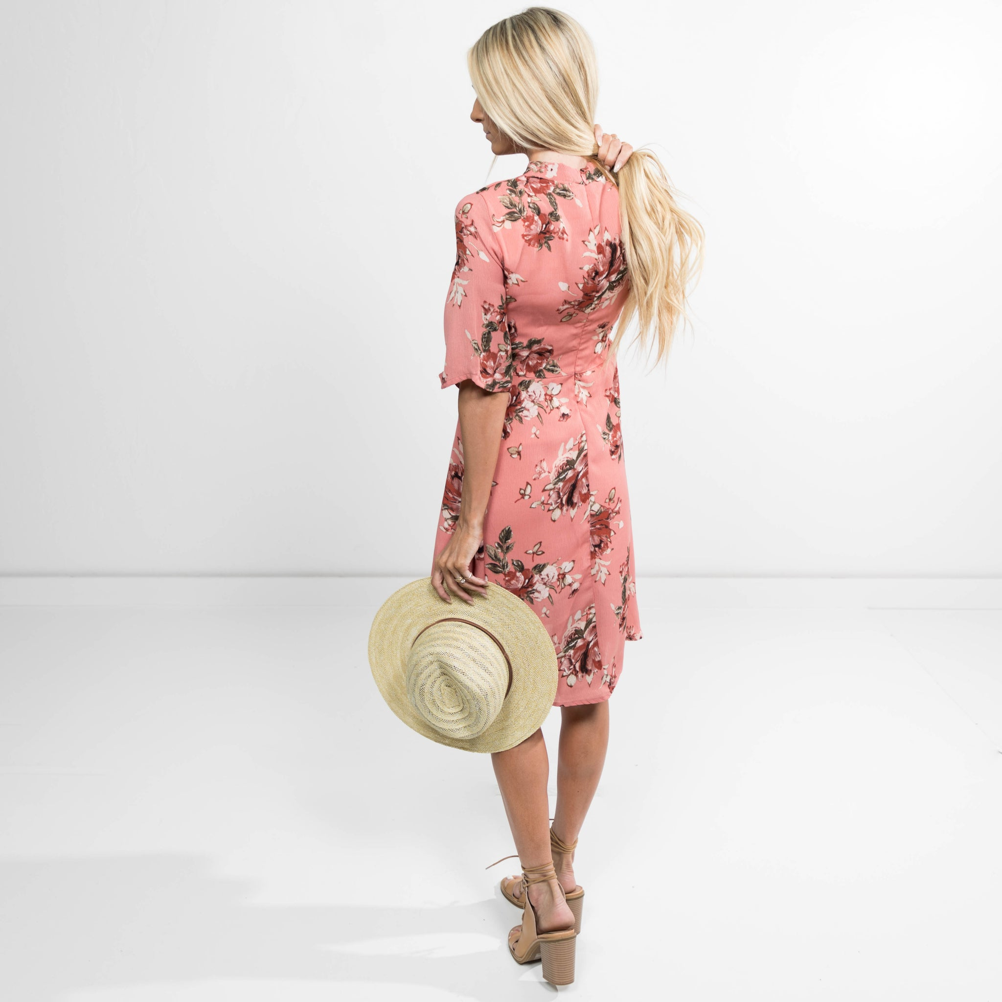 Piper Floral Dress in Blush