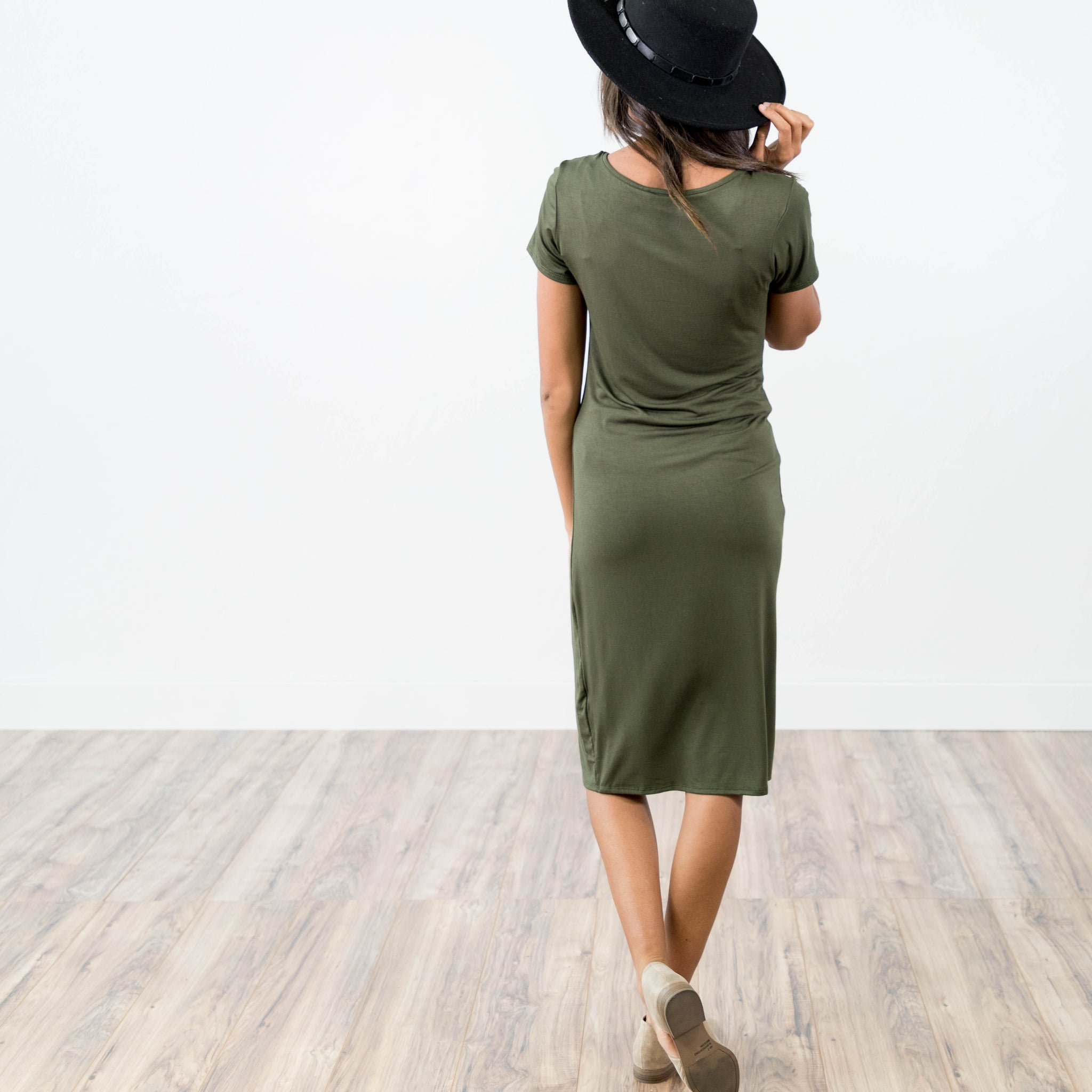Brynne Dress in Dark Olive