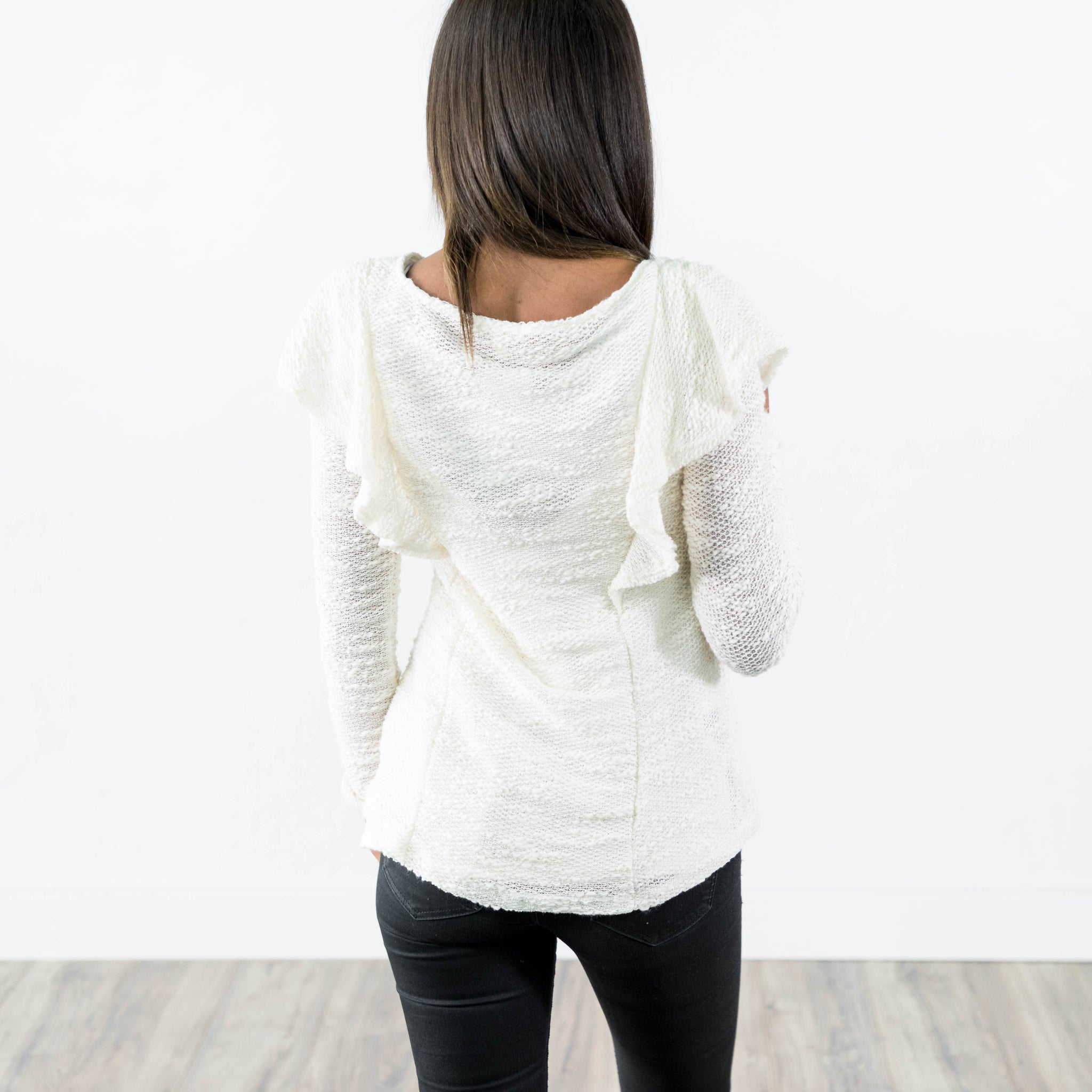 Melody Ruffle Top in Ivory