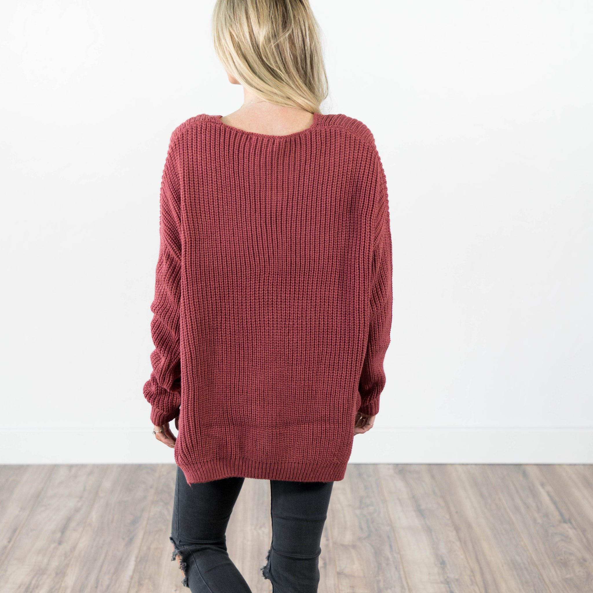 Oversize Knit Sweater in Rose