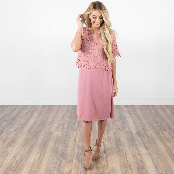 Catrina Lace Dress in Rose