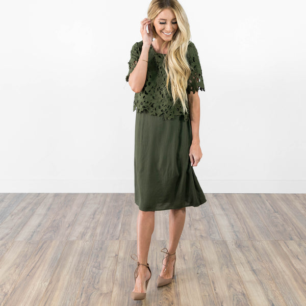 Catrina Lace Dress in Olive