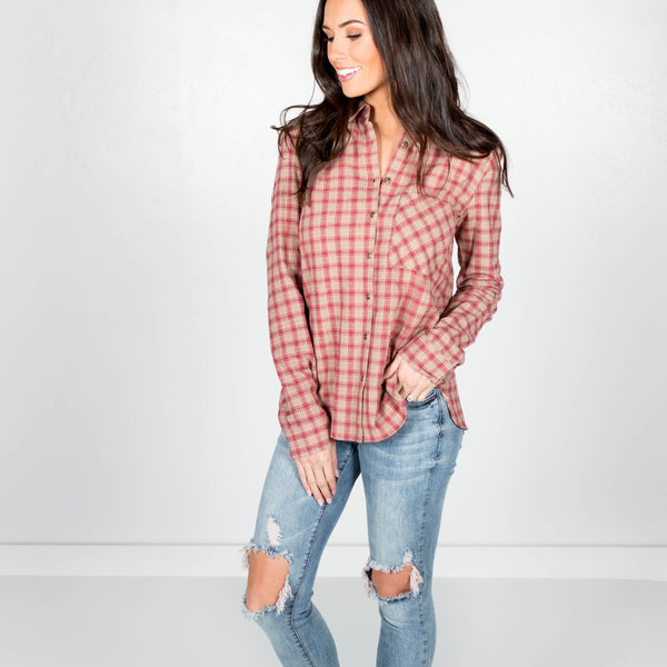 Tinley Plaid Button Up in Sand