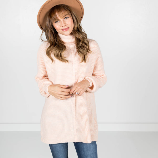 Chunky Knit Turtle Neck in Blush