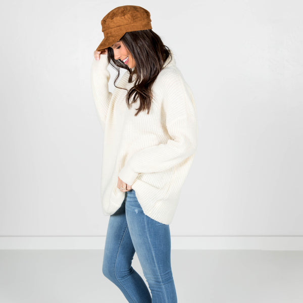 Chunky Knit Turtle Neck in Ivory