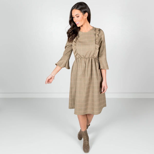 Mellie Ruffle Dress in Taupe