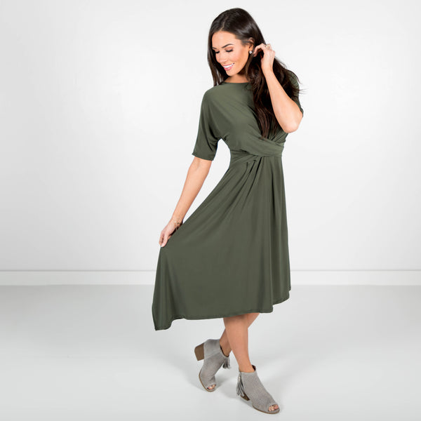 Ella Draped Dress in Olive